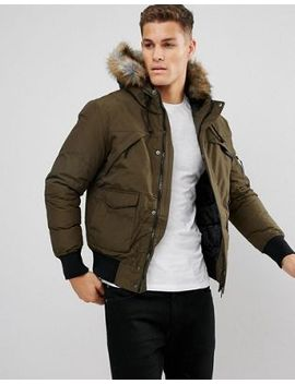 bershka-short-bomber-jacket-with-fur-hood-in-khaki by bershka
