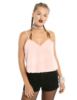 pink-fuzzy-cami by hot-topic
