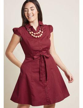 smoothie-enthusiast-a-line-shirt-dress-in-cranberry by modcloth