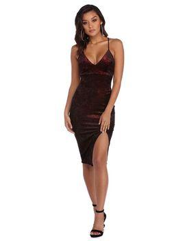 final-sale---burgundy-velvet-glitter-midi-dress by windsor