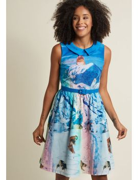 whimsy-without-end-a-line-dress-in-snow-cats by modcloth