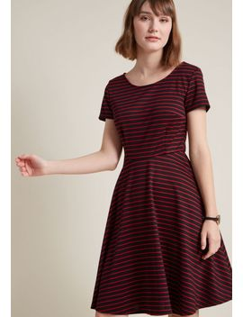 playlist-professional-a-line-dress-in-striped-crimson by modcloth