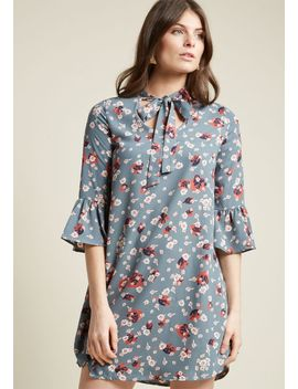 tie-neck-shift-dress-with-bell-sleeves by modcloth