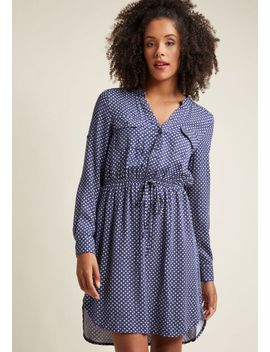 a-way-with-woods-long-sleeve-dress-in-blue-medallions by modcloth