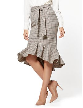 ruffled-flare-skirt---camel---plaid---7th-avenue by new-york-&-company