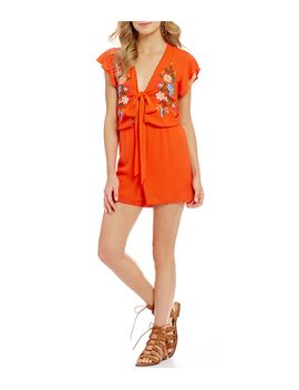 embroidered-pom-pom-detail-cut-out-v-neck-romper by generic