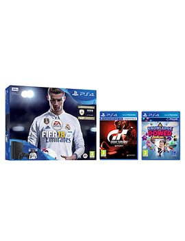 sony-playstation-4-slim-console,-500gb,-with-dualshock-4-controller-and-fifa-18,-jet-black-and-gran-turismo-sport-and-knowledge-is-power by sony