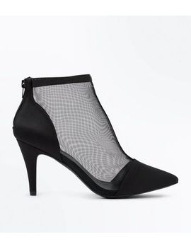 wide-fit-black-mesh-heeled-shoe-boots by new-look