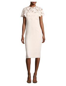 guipure-lace-sheath-dress by lela-rose