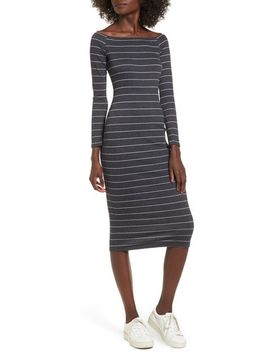 stripe-off-the-shoulder-midi-dress by soprano