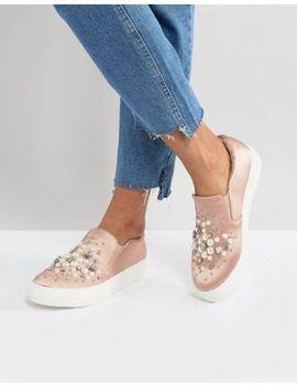 new-look-slip-on-pearl-detail-satin-sneaker by new-look
