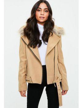 camel-wool-fur-collar-biker-jacket by missguided