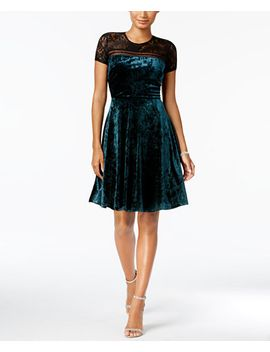 petite-velvet-illusion-fit-&-flare-dress by sangria