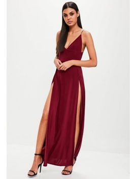 burgundy-slinky-double-split-front-dress by missguided