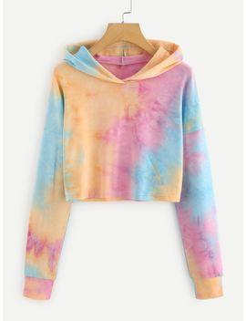drop-shoulder-tie-dye-crop-hoodie by romwe