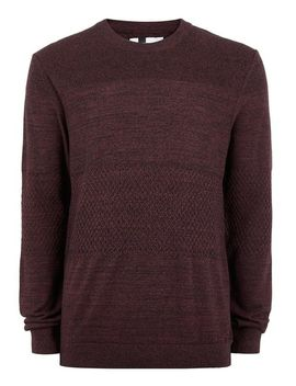 burgundy-and-black-contrast-knit-jumper by topman