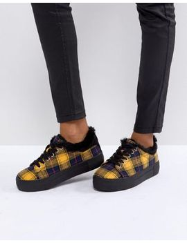 river-island-check-print-lace-up-trainers by river-island