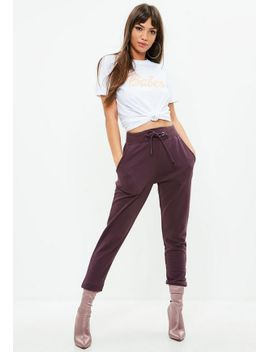 purple-tie-waist-jogger by missguided