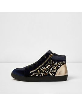 navy-gem-embellished-lace-up-hi-top-trainers by river-island