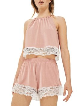satin-&-lace-halter-pajama-top by topshop