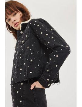 moto-star-stud-denim-borg-jacket by topshop