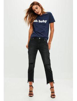 black-lust-stepped-hem-boyfriend-jeans by missguided