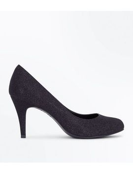 wide-fit-black-glitter-court-shoes by new-look