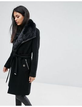 lipsy-wool-mix-wrap-coat-with-tie-waist-and-faux-fur-trim by lipsy