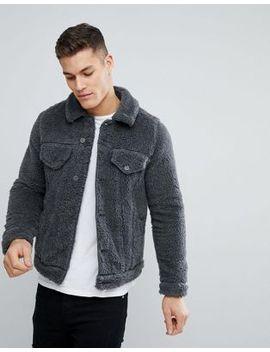 asos-design-borg-western-jacket-in-gray-marl by asos
