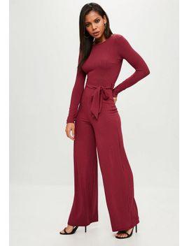 burgundy-tie-waist-wide-leg-jumpsuit by missguided