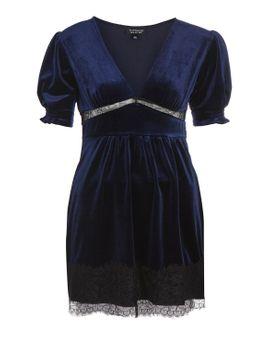 velvet-lace-panel-mini-shift-dress by topshop