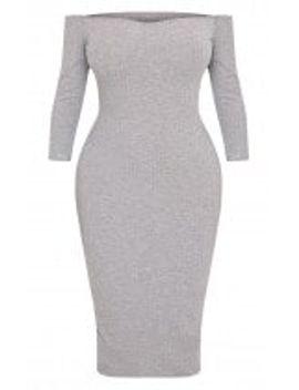 shape-ailanna-grey-ribbed-midi-bardot-dress by prettylittlething