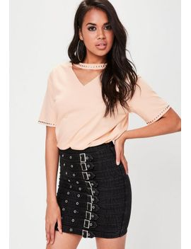 nude-stud-detail-choker-neck-t-shirt by missguided