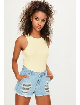 londunn-+-missguided-yellow-ribbed-bodysuit by missguided