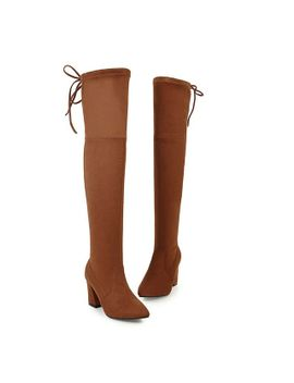 asumer-2020-new-autumn-winter-women-boots-square-heel-faux-suede-thigh-high-boots-high-heels-over-the-knee-boots-pointed-toe by aliexpresscom