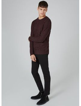 burgundy-cable-knit-jumper by topman