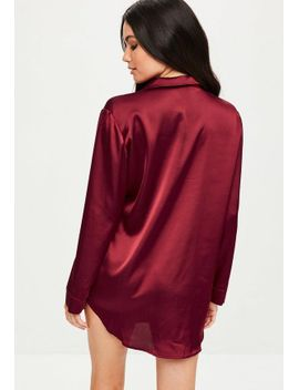 burgundy-satin-night-shirt by missguided