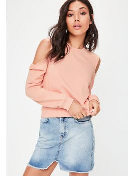 pink-cold-shoulder-sweatshirt by missguided