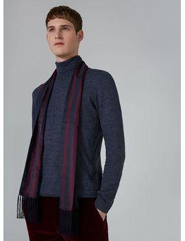 burgundy-navy-striped-dress-scarf by topman