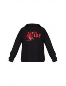 black-vibe-slogan-oversized-hoodie by prettylittlething