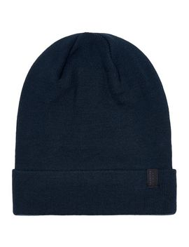 selected-homme-navy-leth-beanie-hat by topman