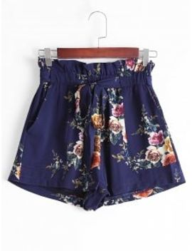 floral-high-waisted-paperbag-shorts---purplish-blue-m by zaful