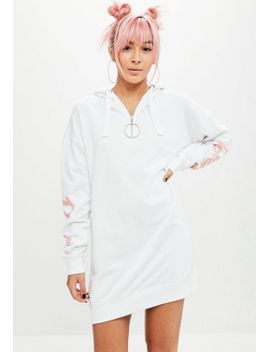 barbie-x-missguided-white-hooded-zip-pullover-sweat-dress by missguided