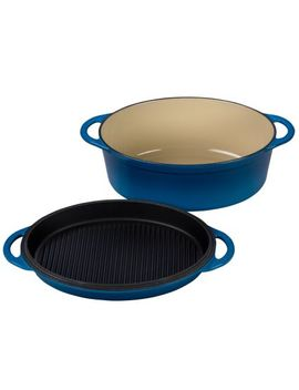 le-creuset-multifunction-oval-oven-with-grill-pan-lid,-475-qt by sur-la-table