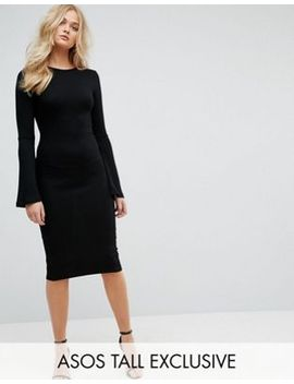 asos-tall-midi-bodycon-dress-with-fluted-sleeves by asos-tall