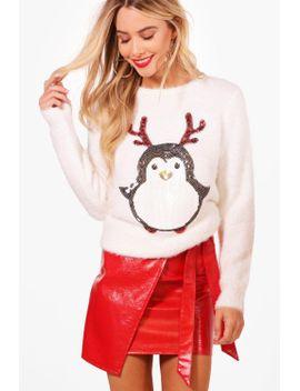sequin-tinsel-yarn-penguin-christmas-jumper by boohoo