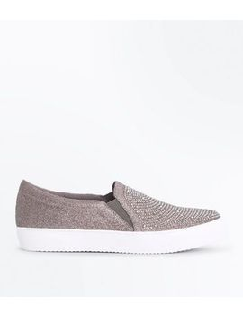 pewter-embellished-glitter-slip-on-trainers by new-look