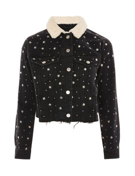moto-star-stud-denim-borg-jacket by topshop