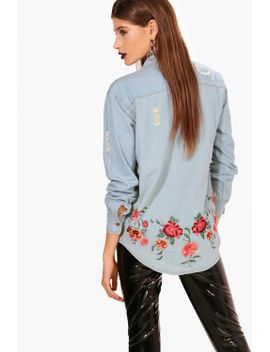 embroidered-back-denim-shirt by boohoo