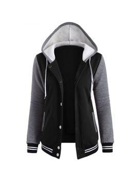 contrast-sleeve-fleece-baseball-hoodie-jacket---black-m by rosewholesale
